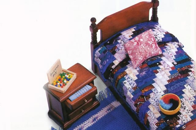 Learn how to make a dollhouse miniature quilt. Advice and a pattern to help you make a log cabin quilt for a dollhouse, plus tips for other simple methods.