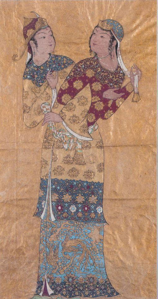 Hosein Behzad (1894-1968) Jvza' (twins), one of the constellations of the zodiac, which is the largest and most magnificent northern constellations and the names of the twelve zodiac constellations against the third tower in June Gold and watercolor - 40,64 X22, 86 cm Family Collections ... - Qom OOP, but nice depiction of clothing, based on period paintings.