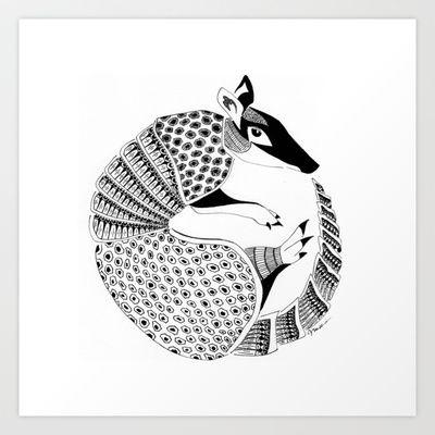 Possum on the Half Shell (Armadillo) Art Print by Janin Wise - $15.60