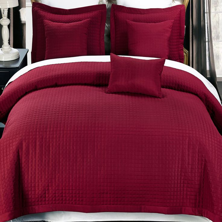 2 Piece Burgundy Twin Xl Coverlet Set Free Shipping