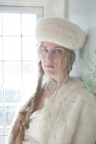 Sally Lacock 1930's style dress with fur hat and cape