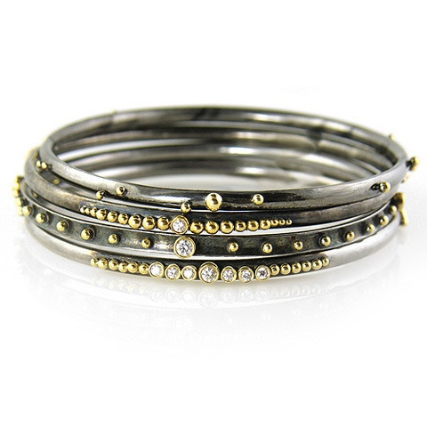 Oxidized silver bangles with 18k gold balls and diamonds for Mixture of gold and silver