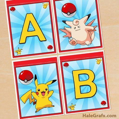 free pokemon banner FREE Printable Pokémon Alphabet Banner Pack