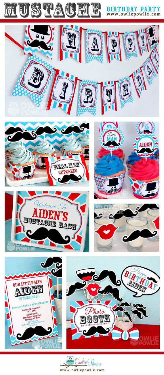 Littleman Mustache Bash BIRTHDAY Party Printable Package & Invitation, INSTANT DOWNLOAD, You Edit Yourself with Adobe Reader