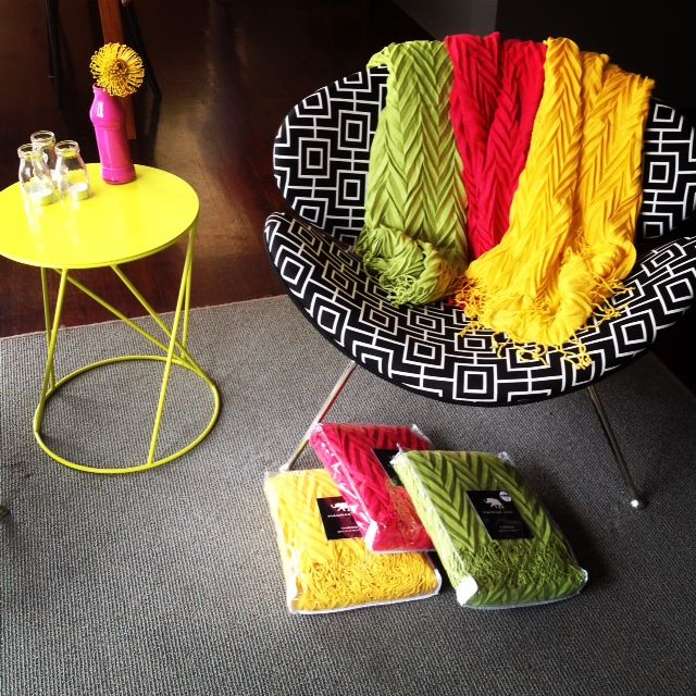 Coloured throws, for when the days get cooler