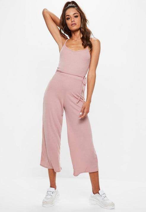 37622d10a Missguided Pink Rib Cami Culotte Romper in 2019 | Jumpsuits ...