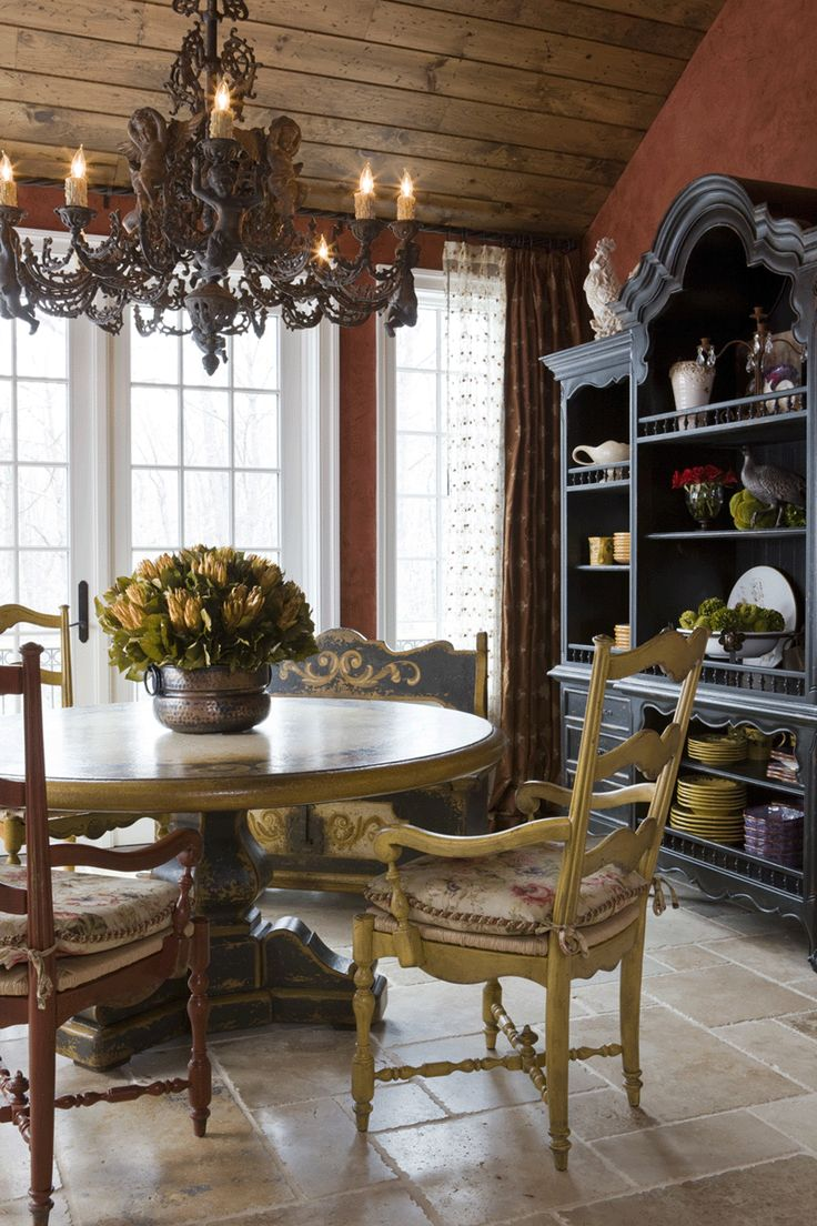 French country dining room chandelier - Dining Room By Alex Clymer Interiors Love The Lines On The Furniture And How Nothing French Country