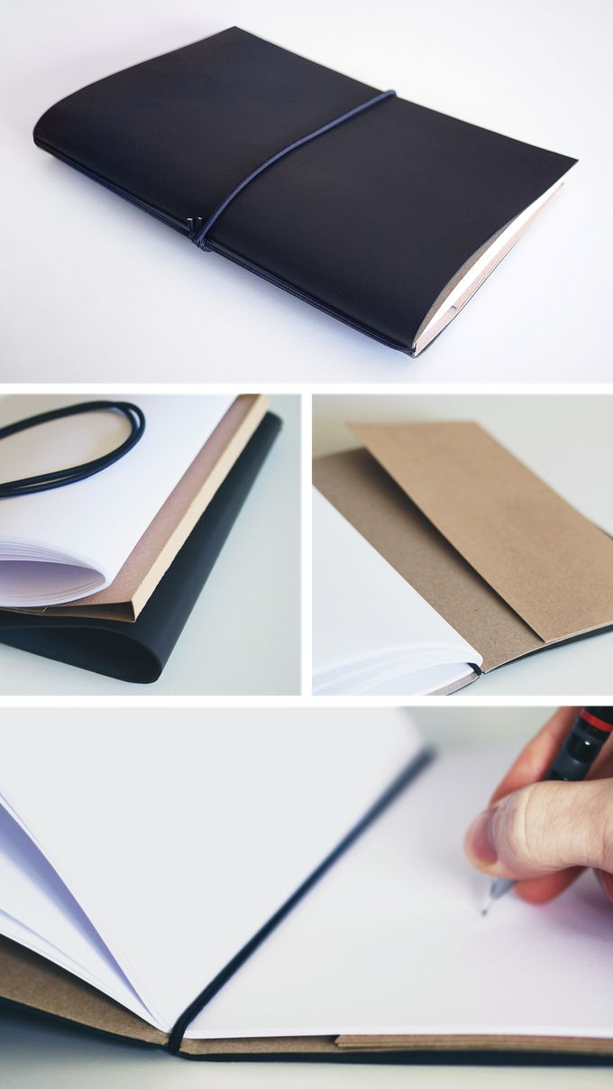 Handmade Refillable Notebooks Created Using High Quality Soft Leather,  Nonphoto Blue Paper