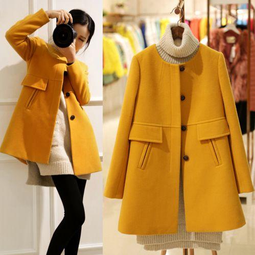 Corea moda elegante mujeres del invierno largo abrigo de manga larga púrpura amarillo abrigo de lana de cachemira de la alta calidad para mujer abrigo abrigo(China (Mainland))