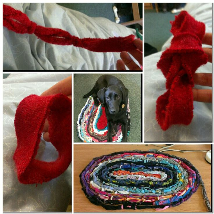Rug Made From Old Socks, Cut Into Loops, Linked Together