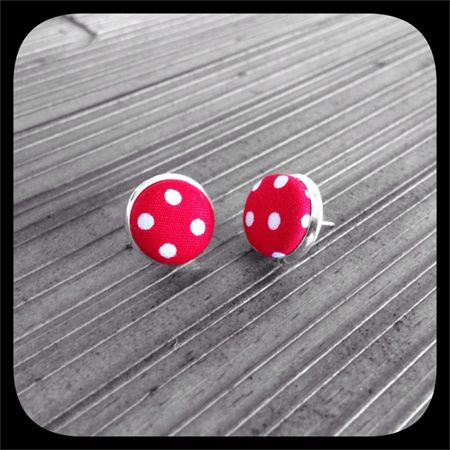 White Polka Dots on Red: Bezel Set Studs