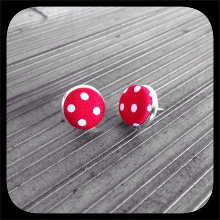 White Polka Dots on Red: Bezel Set Studs