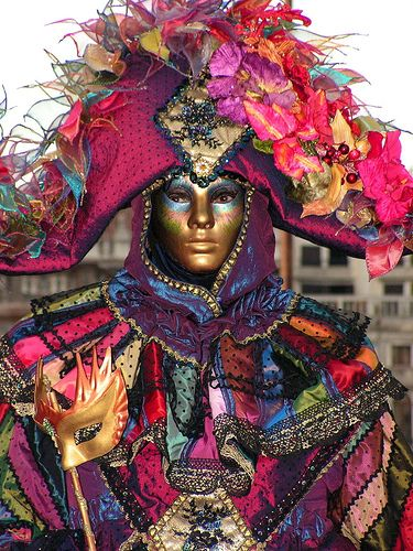very colorful Venice carnival costume