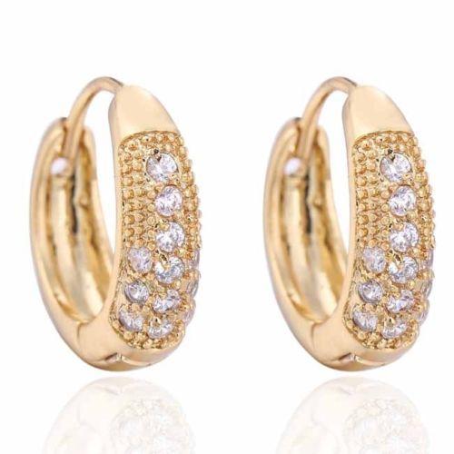 Delightful White Topaz Gems Yellow Gold Plated Women's Hoop Earrings 0487 Jewel