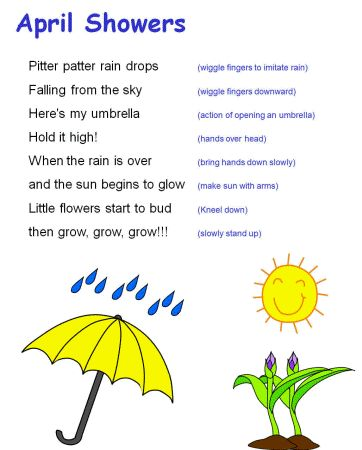 April showers song (& then bring an umbrella for the kid's activity) [simply an idea]