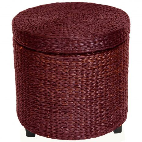 Simple, solid, and beautiful. This round shaped small foot stool has lots of uses and is great to look at. Made from rattan style rush grass woven on wood