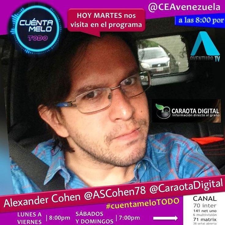 Ésta noche recibimos en el estudio a: Alexander Cohen @AsCohen78 director de #marketing de @CaraotaDigital quien viene para invitarnos al conversatorio: #QuienDaLaCaraPorMaracaibo @georgegarretts @arbpress @mgpromusic.  Caraota Digital continúa en la búsqueda de la nueva cara de la noticia en Maracaibo. Te gustaría pertenecer a su equipo? Te invitamos a asistir este 2 de junio a las 10:00 am a un conservatorio con algunos de nuestros reconocidos periodistas en la Universidad del Zulia en el…