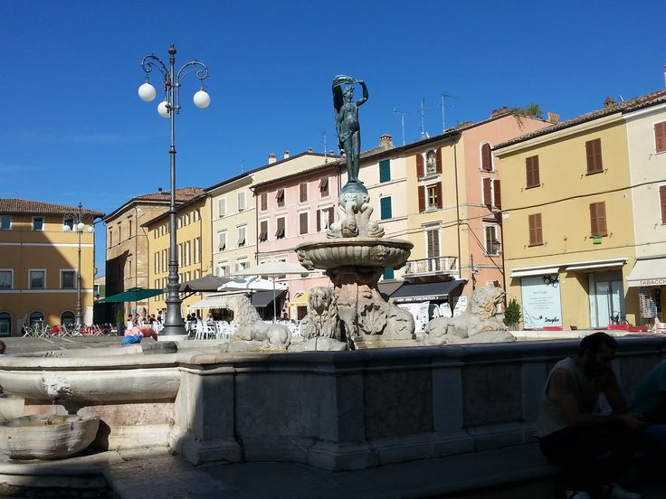 ancient fountain from the XIII century in the centre of Fano