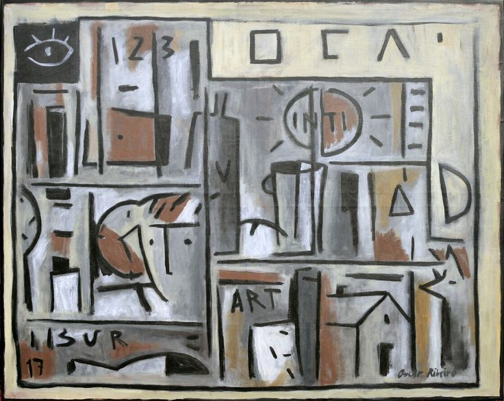 """Oscar Ribeiro """"Constructivo"""" Acrílico sobre tela 130 X 162 cm. Año 2017"""