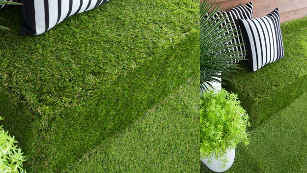 AstroTurf Ottoman: Dress up an old bit of furniture and turn it into a feature of your outdoor entertainment area.