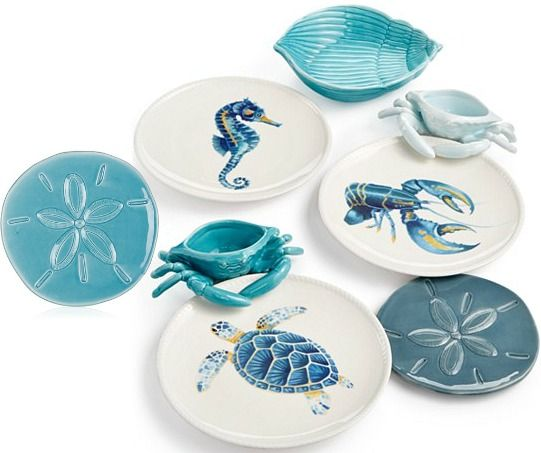 Fitz and Floyd Coastal Dining with Sand Dollar Plates and more... http://www.completely-coastal.com/p/coastal-sale-island.html 6 inch sand dollar plates vome in 3 different colors. $4.99 each.