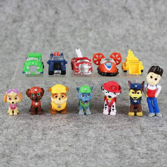 Paw Patrol Figures Puppy Car Toy Cake Toppers Decoration