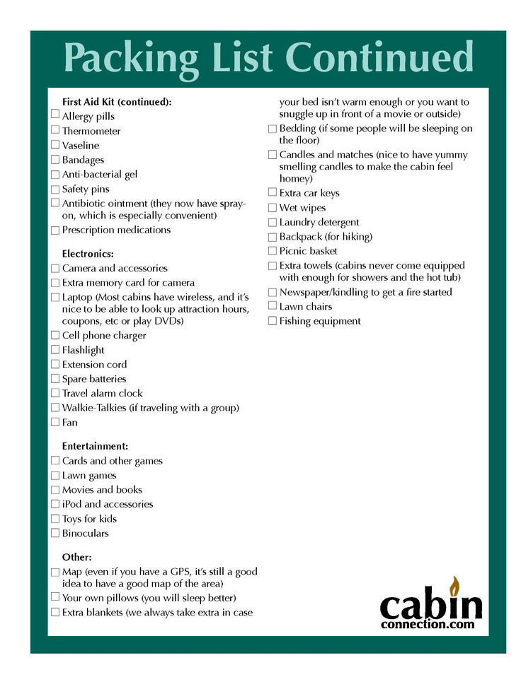 Cabin Trip Packing List Page 2 Wanderlust Pinterest
