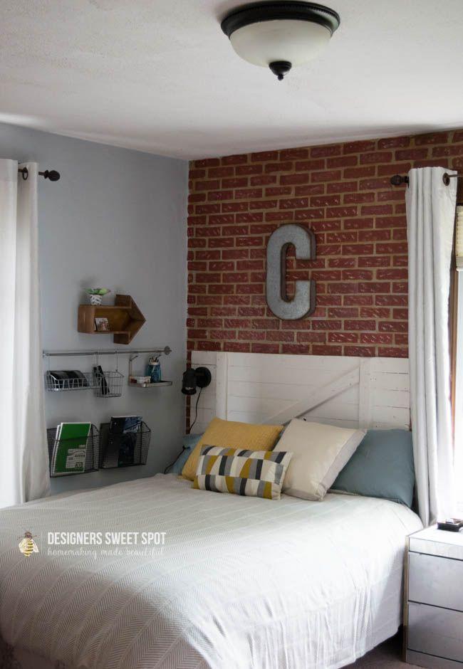 Decorate & create an urban loft bedroom with faux brick wall stencils - Royal Design Studio wall stencils & realistic wall mural art stencils