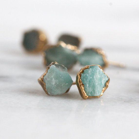 amazonite earrings / raw stone earrings / jade by DANIBARBEshop