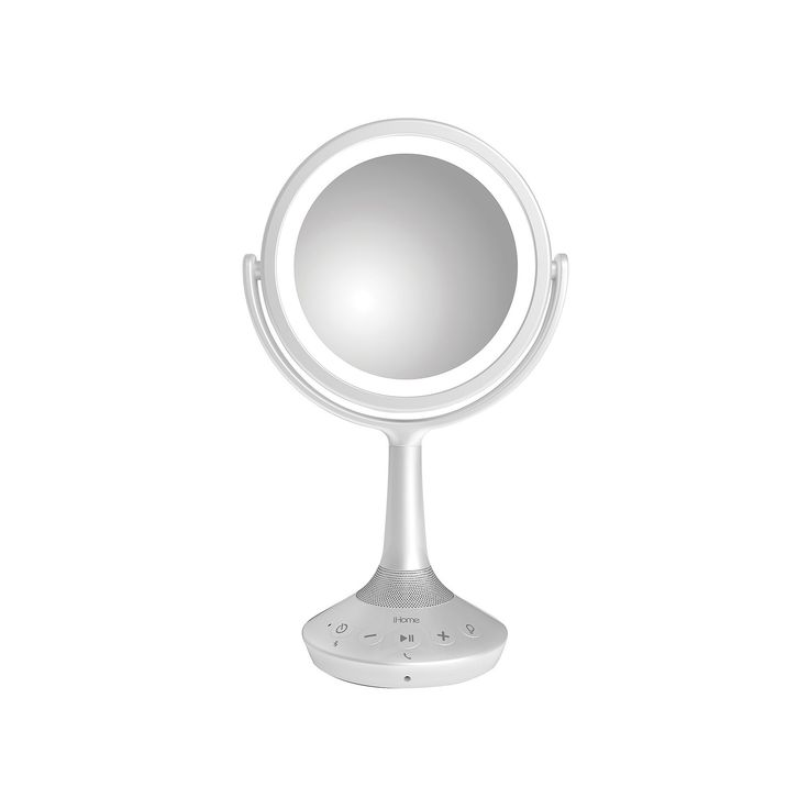 iHome 5X Double-Sided Vanity Mirror with Bluetooth Speaker, White