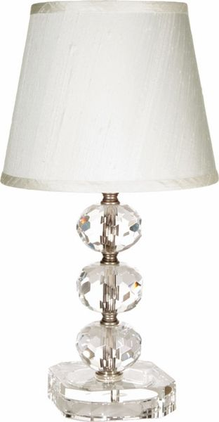 Maura daniels small juliette table lamp is truly elegant with round cut crystals along the stem clear crystal base and white silk shade