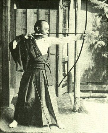 Tokugawa Yoshinobu(1837-1913), the 15th and last Tokugawa shogun. Shown practicing archery.