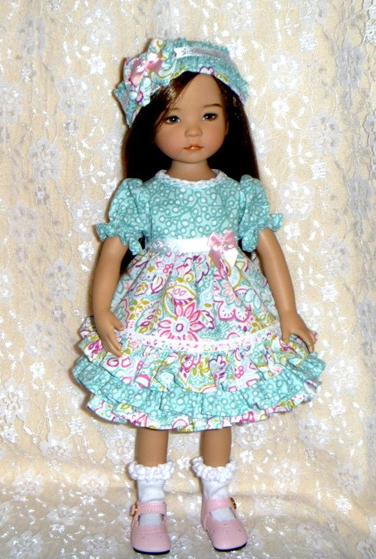 Effner Little Darling Aqua Mist Dress With by ThisandThatCreations: