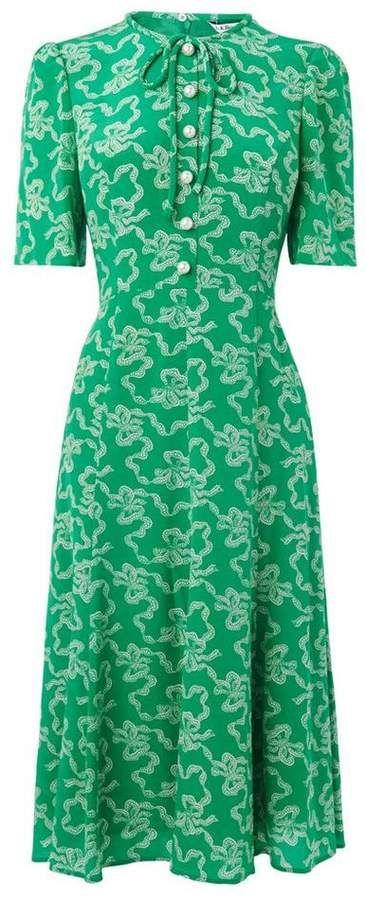 3a59692c3bf8 Lk Bennett Montana Green Silk Dress RepliKate Kate Middleton Duchess of  Cambridge style