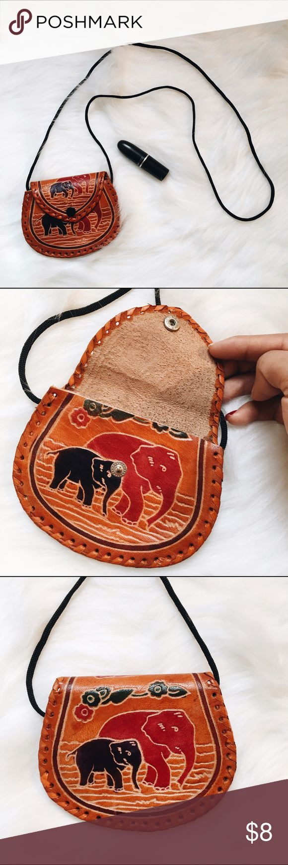🐘 Adorable Elephant Coin Purse 🐘 Has simple black strap to wear as a crossbody. Button closure. Fits coins, cards, ids, lipsticks, chapsticks. #purse #coinpurse #vintage #elephant Bags Mini Bags