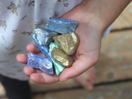 """Turn rocks into """"gems"""" with multicolored metallic paint. Bury in the sandbox and pan for gold, or have a pirate scavenger hunt to find the""""booty""""!"""