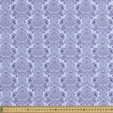Larkspur Damask Allover Fabric Blue 112 cm