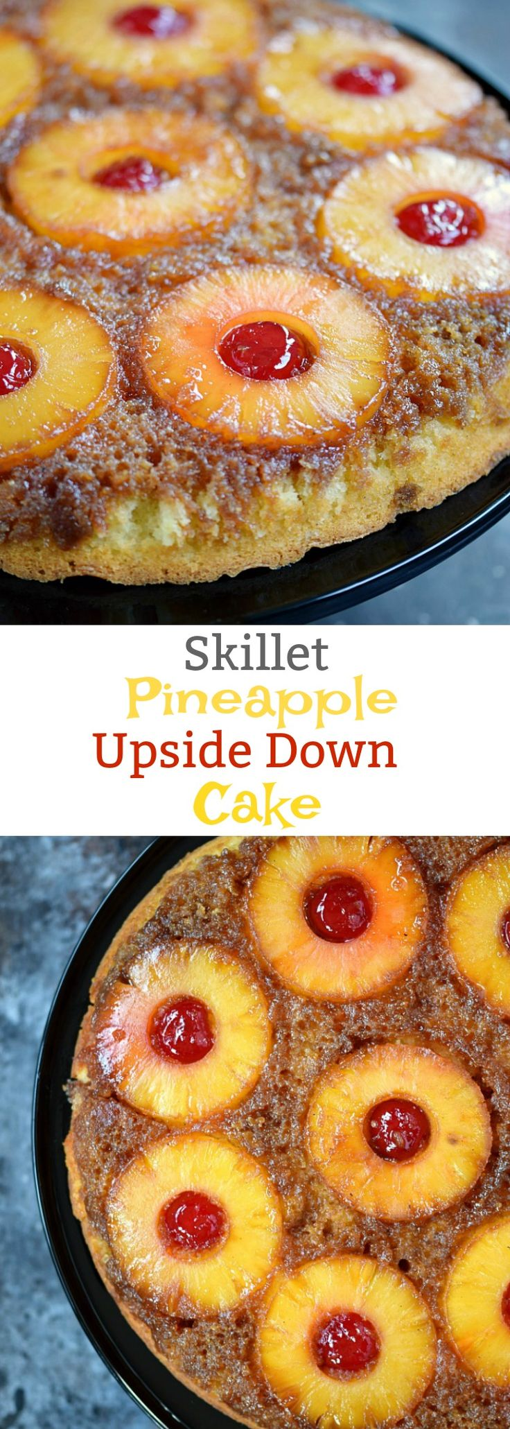 Your next luau will not be complete without this delicious Skillet Pineapple Upside-Down Cake that has a fun twist to take it to the next level! cookingwithcurls.com