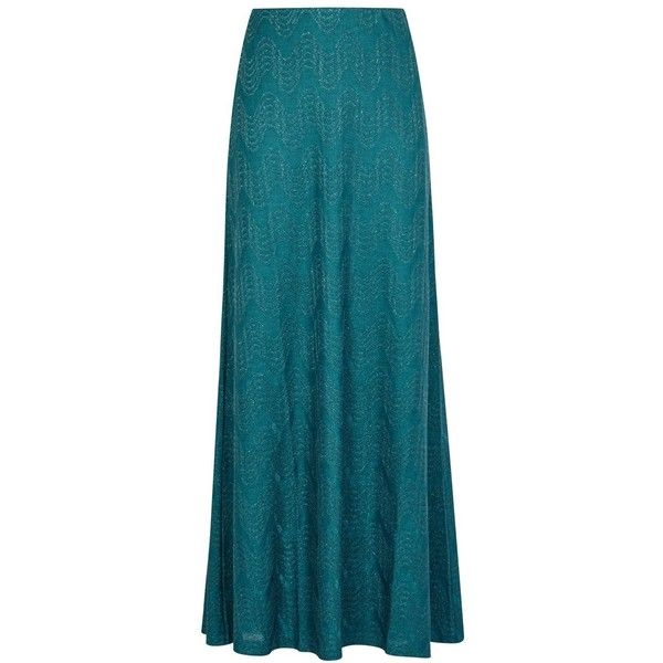 M Missoni Teal Metallic-knit Maxi Skirt - Size 12 ($415) ❤ liked on Polyvore featuring skirts, metallic maxi skirt, knit maxi skirt, striped maxi skirts, elastic waist long skirts and knit skirt