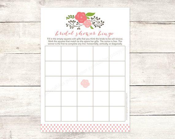 bridal shower bingo game card printable DIY pink bouquet wedding shower bingo pink polka dots bridal shower digital games - INSTANT DOWNLOAD on Etsy, $5.64 CAD