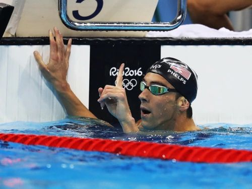 When Phelps took gold on Tuesday in the 200-meter butterfly (by 4/100ths of a second!) he celebrated his victory with a gesture that has become very familiar at the 2016 Rio Games – the finger wag. U.S. swimmer Lilly King first demonstrated the move following the women's 100-meter breaststroke