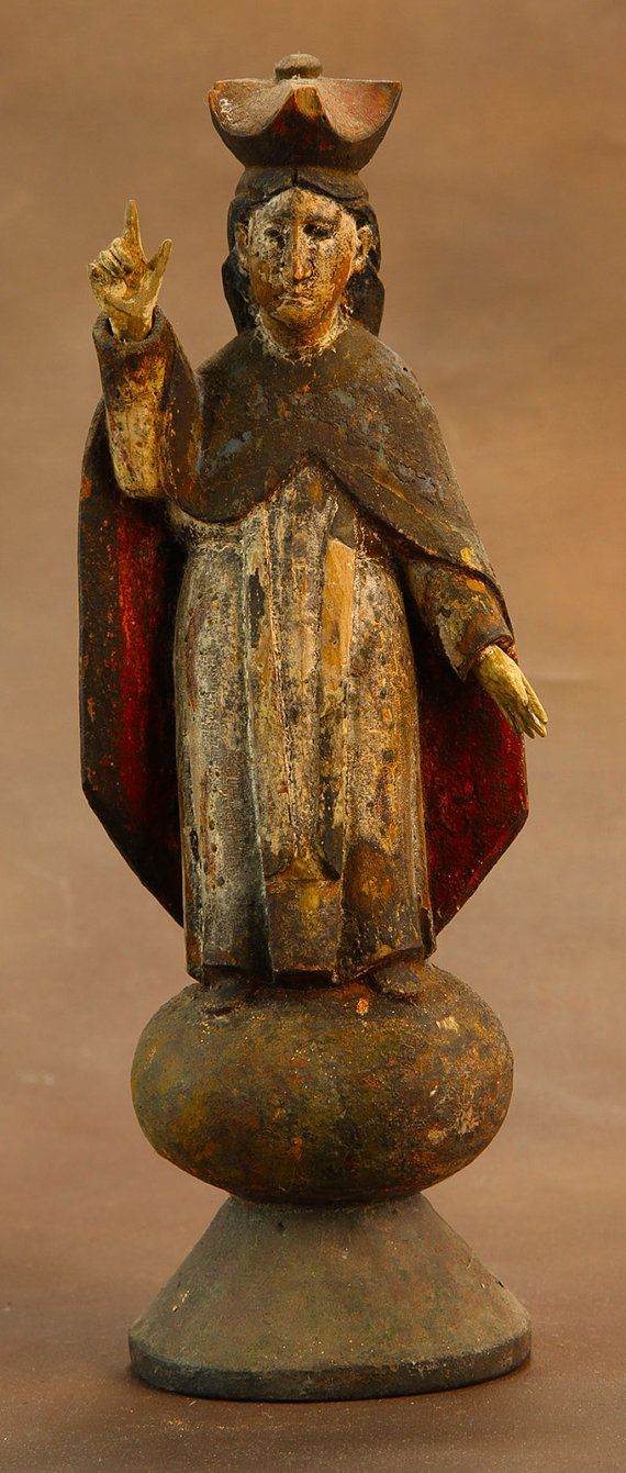 Spanish Colonial Santos Mother Mary c 1850 by SirRafflesArtHistory, $350.00