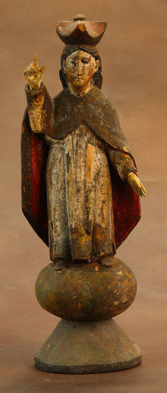 Spanish Colonial Santos Mother Mary c 1850 by SirRafflesArtHistory, $350.00