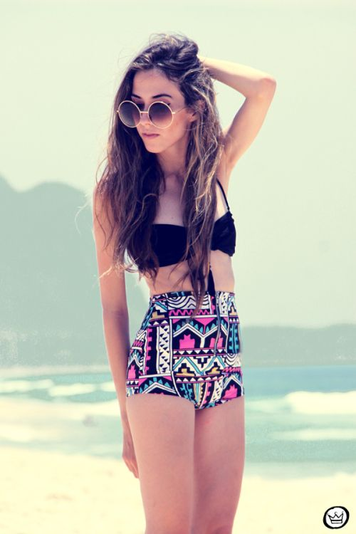 High Waisted Tribal Print and Black Swimsuit....