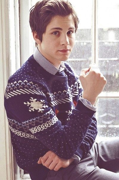 Logan Lerman in a Christmas sweater is like a gift from God.