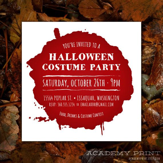 Printable Halloween Invitation in a Drop of Blood  by AcademyPrint