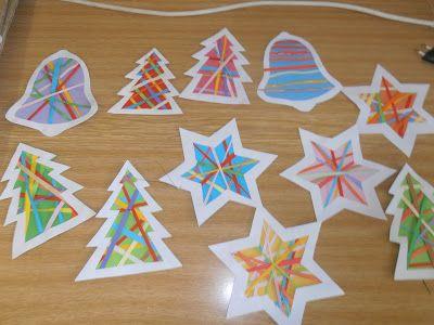 Omtrek uitprikken, dan dunne strookjes laten plakken en als laatste een gekleurd papiertje erachter! Wat een leuk resultaat