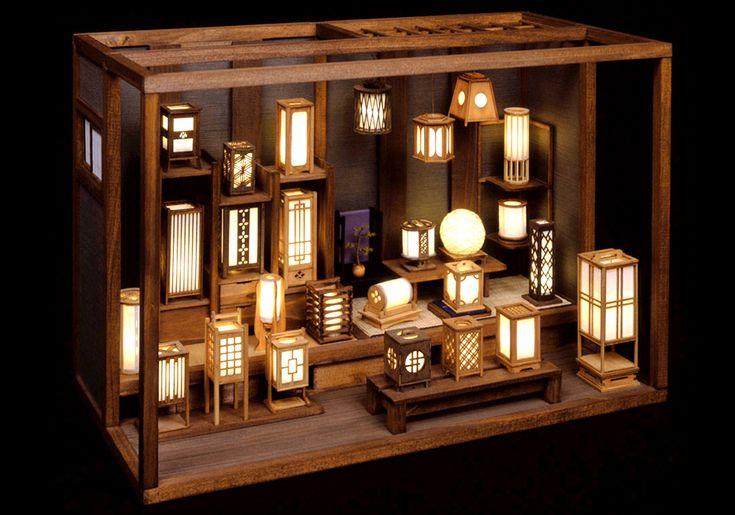 伝統的な日本のランタンショップミニチュア。 キットから作られています。 とても素晴らしい! - EStarProductions