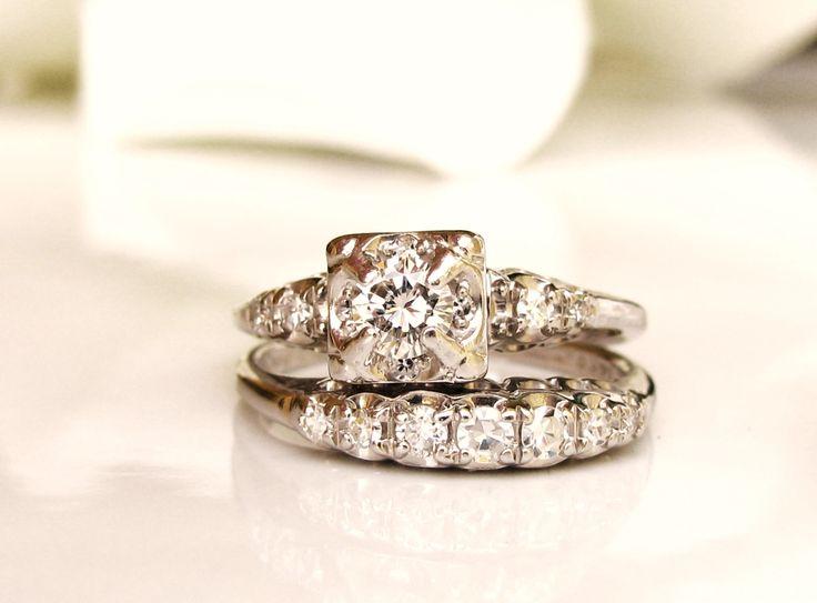 Vintage Engagement Ring Set 061ctw Diamond Wedding 14K White Gold Bridal