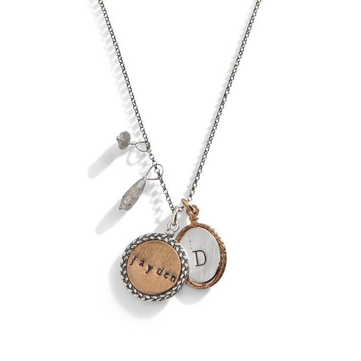 Personalized Name Necklace with Monogram - Mixed metal jewelry
